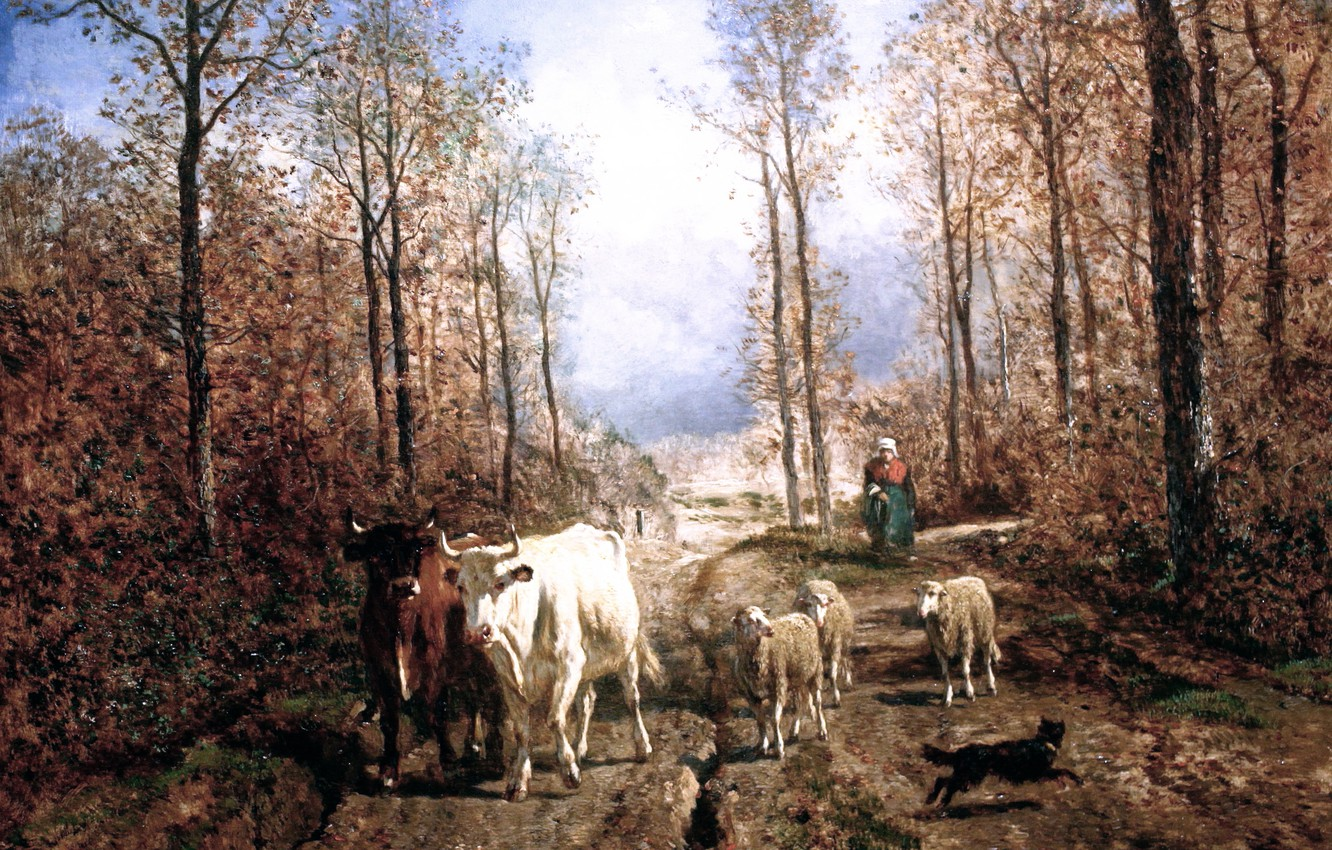 Photo wallpaper picture, Constant Troyon, Return of the Herd, Troyon Constant