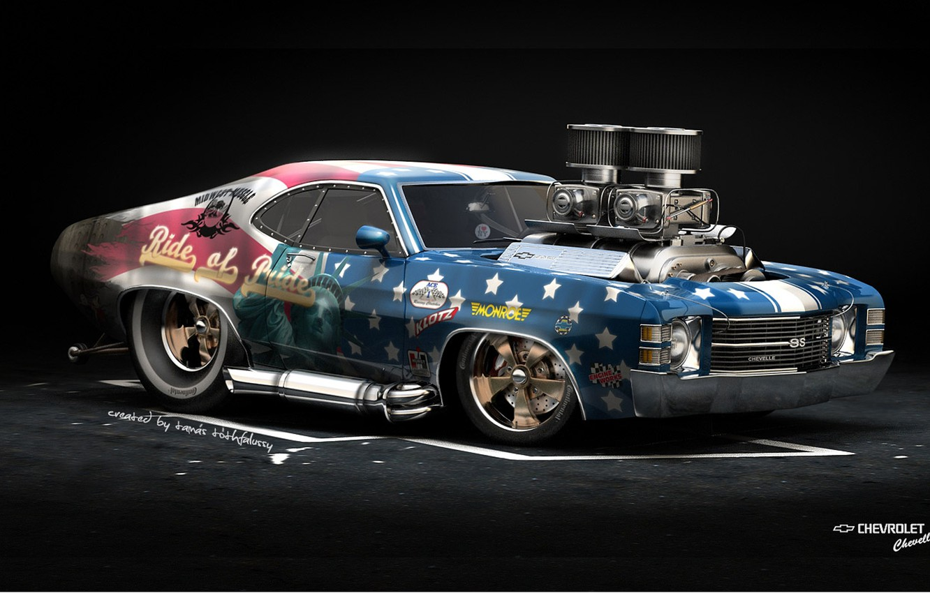 Photo wallpaper Car, American Muscle, Hod Rod, Chevrolet Chavelle SS