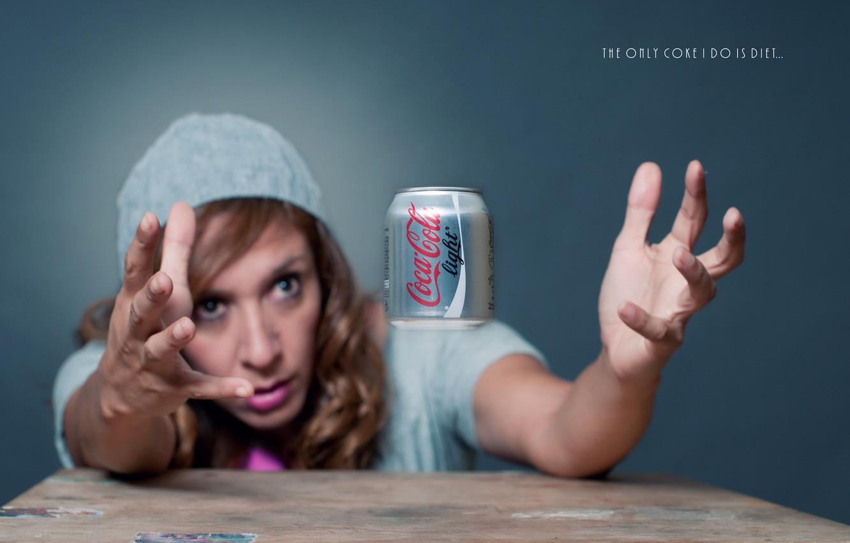Photo wallpaper girl, thirst, hands, Coca-Cola, Coca-Cola Light