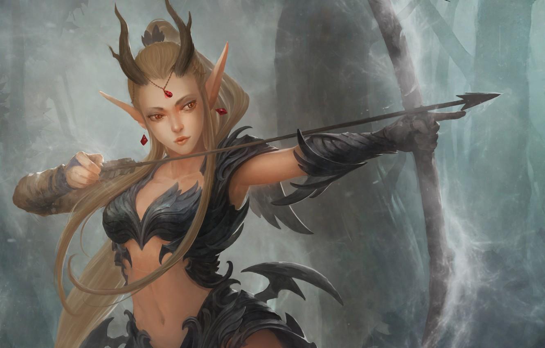 Photo wallpaper look, pose, bow, art, horns, arrow, fantasy, demoness