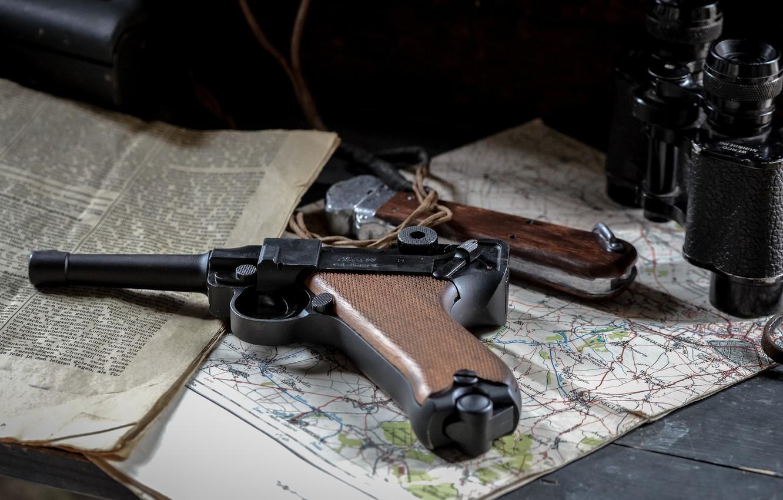 Wallpaper gun, map, newspaper, binoculars, Parabellum, P08