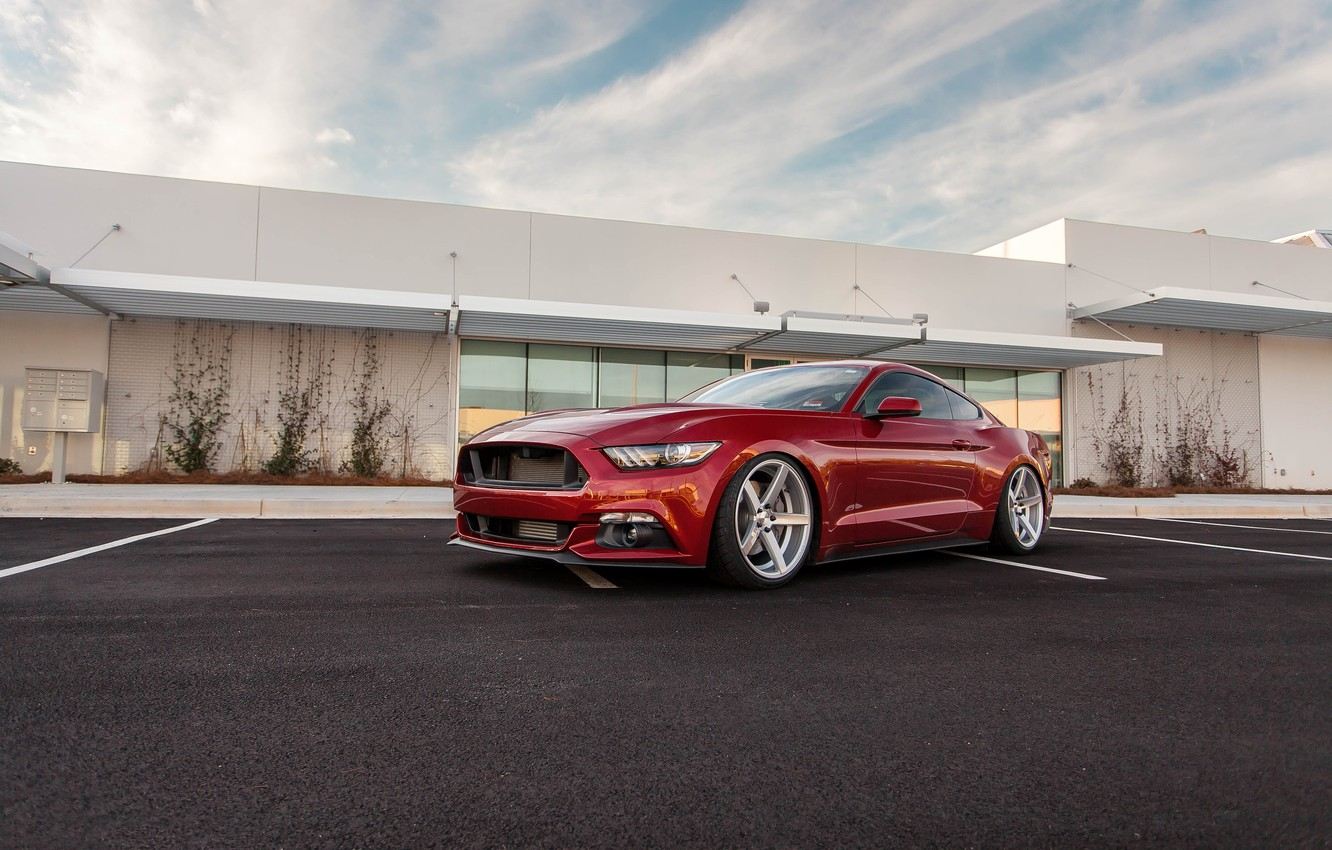 Photo wallpaper Mustang, Ford, Red, Parking, 2015