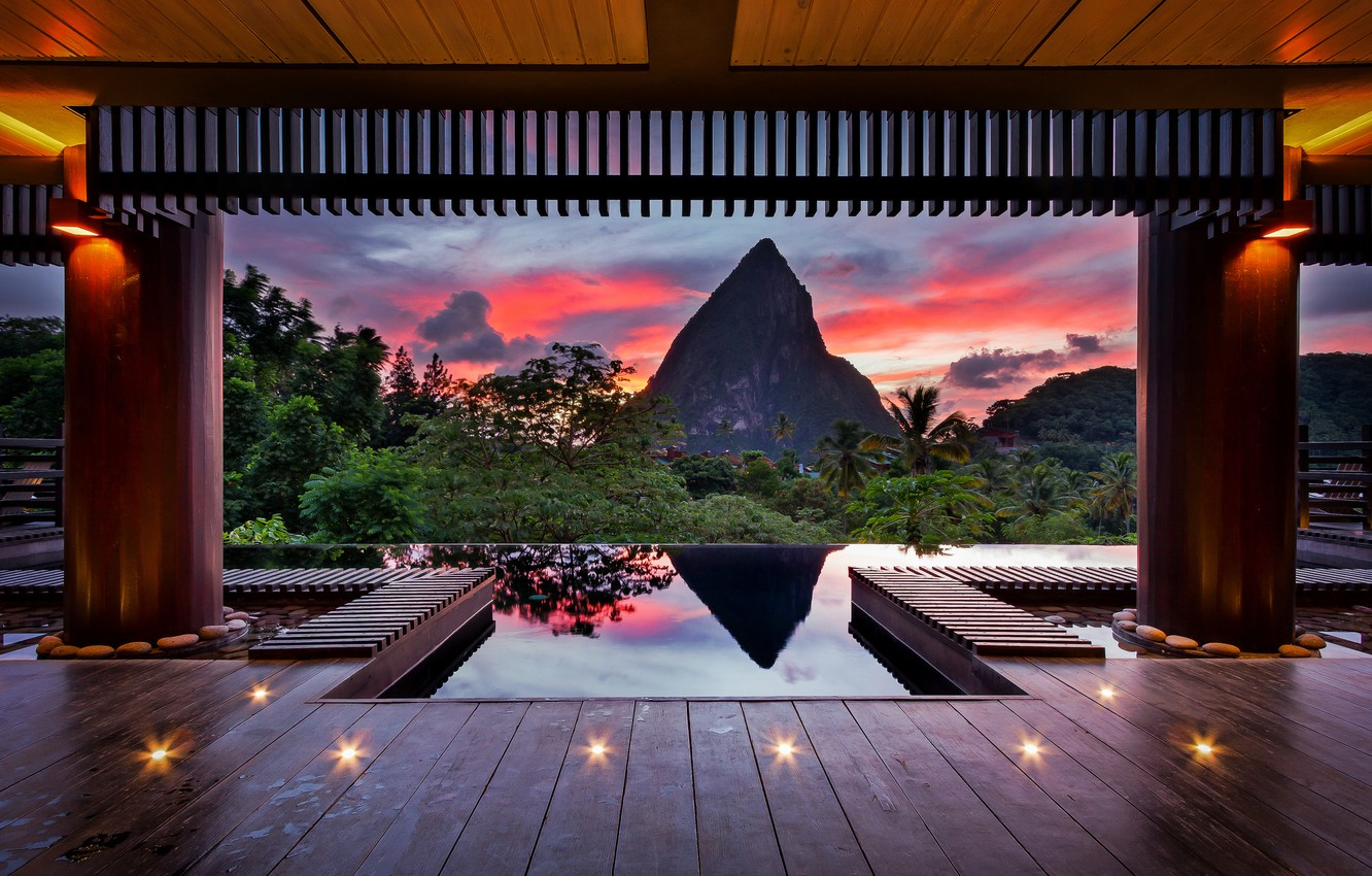 Photo wallpaper summer, the sky, tropics, paint, mountain, the evening, Caribbean, the chocolate hotel