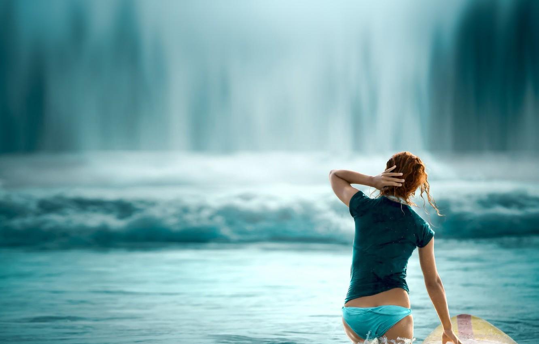 Photo wallpaper ass, water, wave, surfer