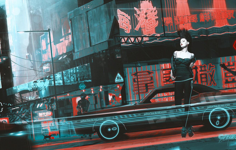 Photo wallpaper machine, cat, girl, fiction, street, art, cyberpunk, punk