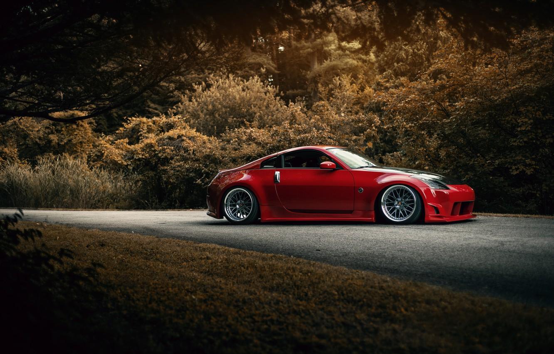 Photo wallpaper red, Nissan, 350Z, stance, kit