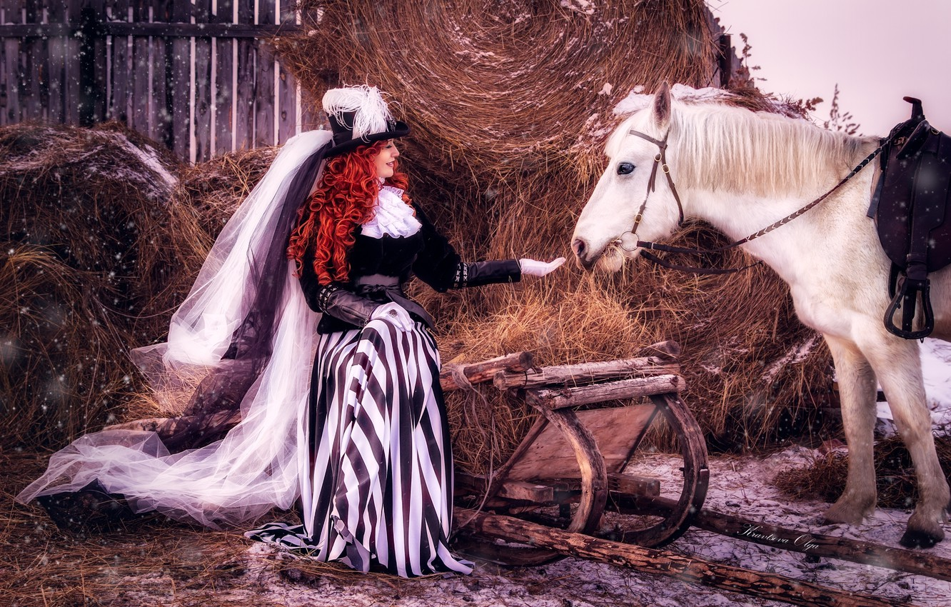 Photo wallpaper girl, snow, horse, hair, horse, hat, hay, outfit, red, veil, lady, lady