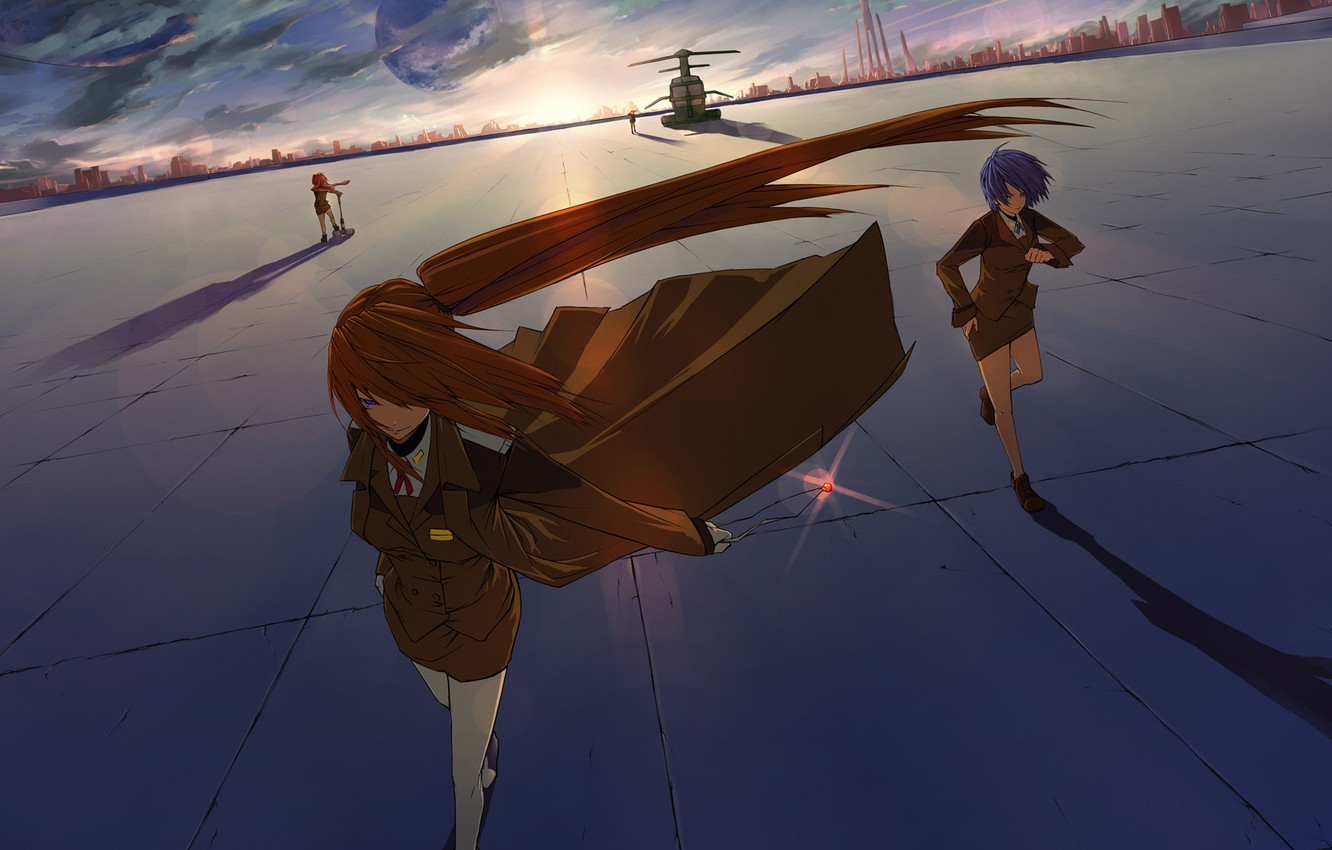 Photo wallpaper the sky, the city, the wind, building, Girls, amulet, cloak