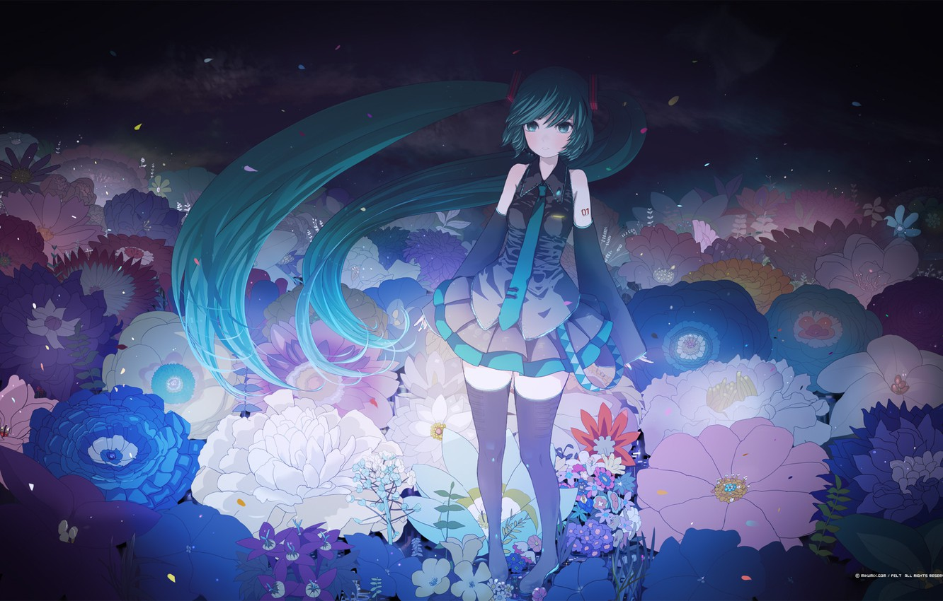 Photo wallpaper flowers, Girl, petals, tie, outfit, vocaloid, Vocaloid, ribbons, tails