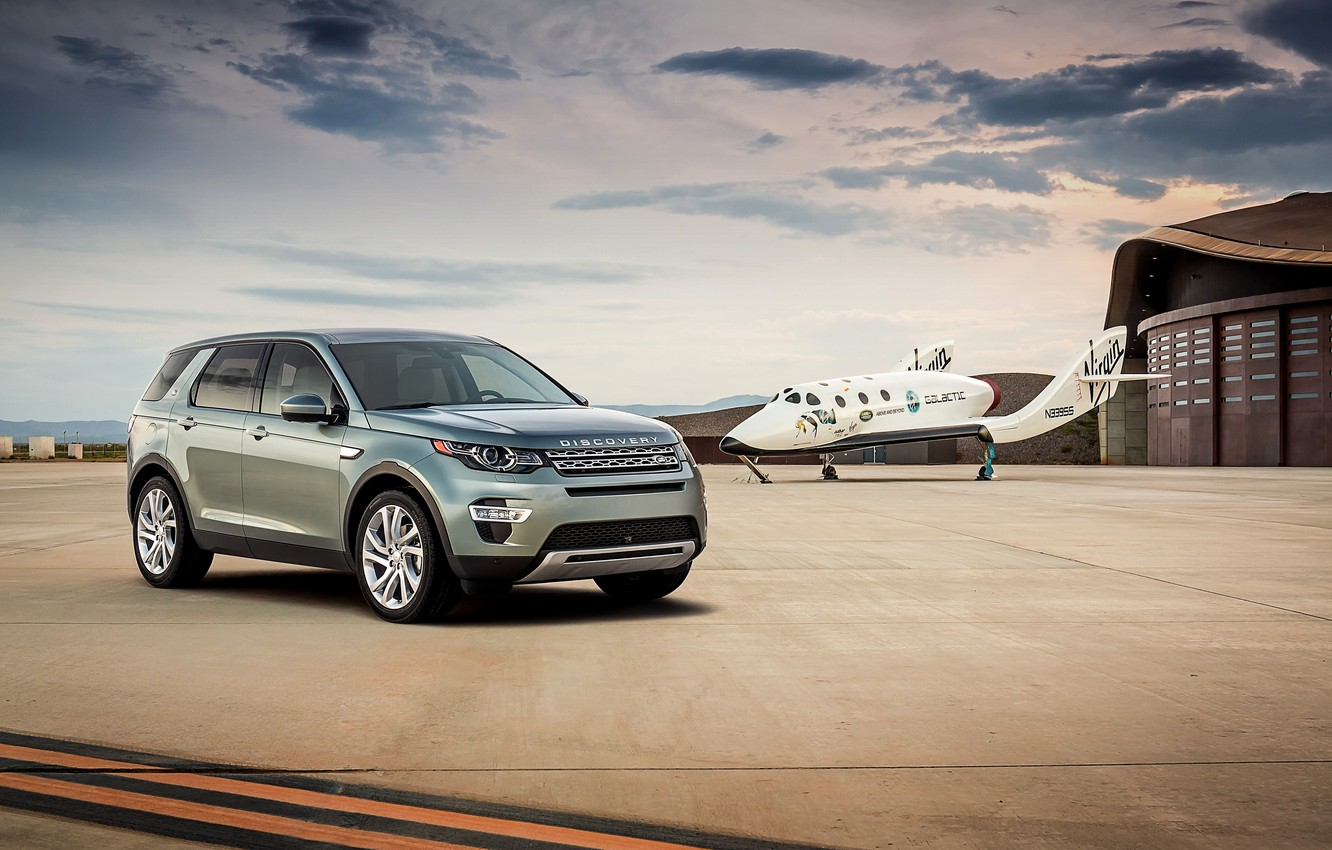 Photo wallpaper the plane, sport, hangar, Land Rover, the airfield, Discovery, Sport, crossover, discovery, land Rover, 2015