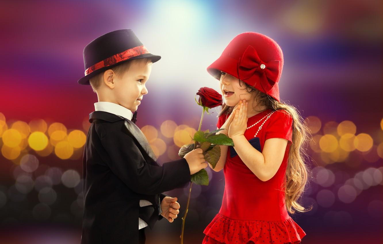 Photo wallpaper love, childhood, romance, rose, child, boy, pair, girl, love, rose, Valentine's day, retro, boy, couple, …