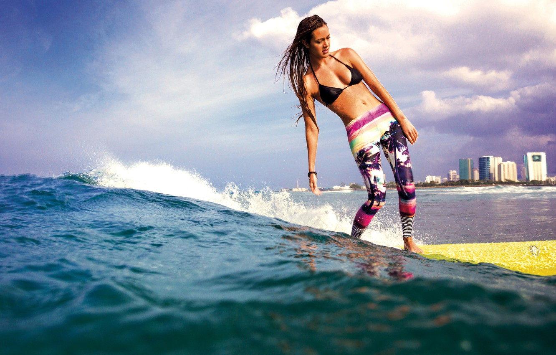 Photo wallpaper girl, sport, wave, surfing