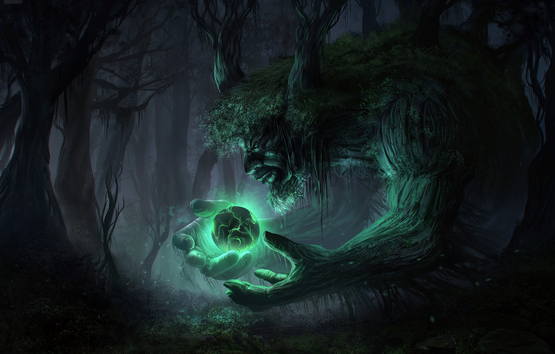Photo wallpaper forest, trees, night, lights, dark, spirit, sphere, art