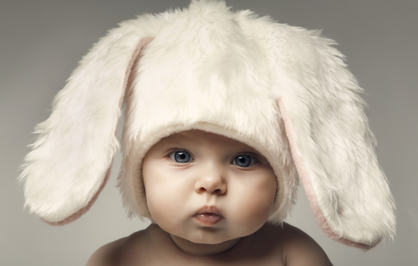 Photo wallpaper children, baby, Easter, cute, hat, hats, Easter, funny, children, kid, fun, happy child, happy baby, …