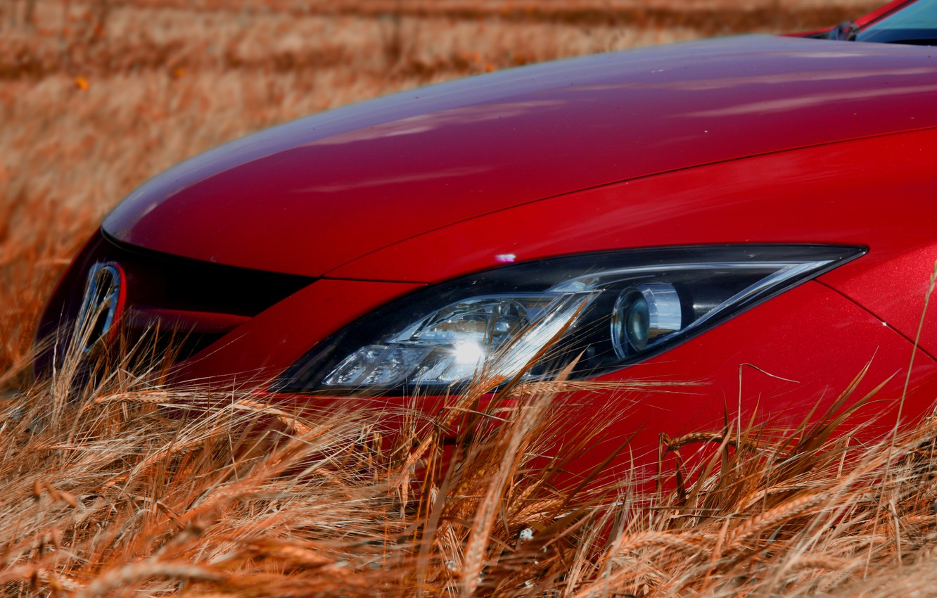 Photo wallpaper Red, Ears, Lights, Mazda 6