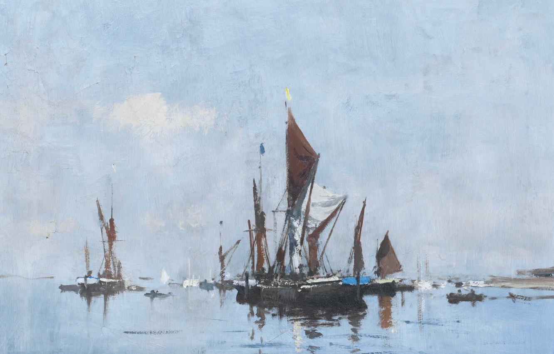 Photo wallpaper picture, seascape, Edward Seago, Barge in still Water