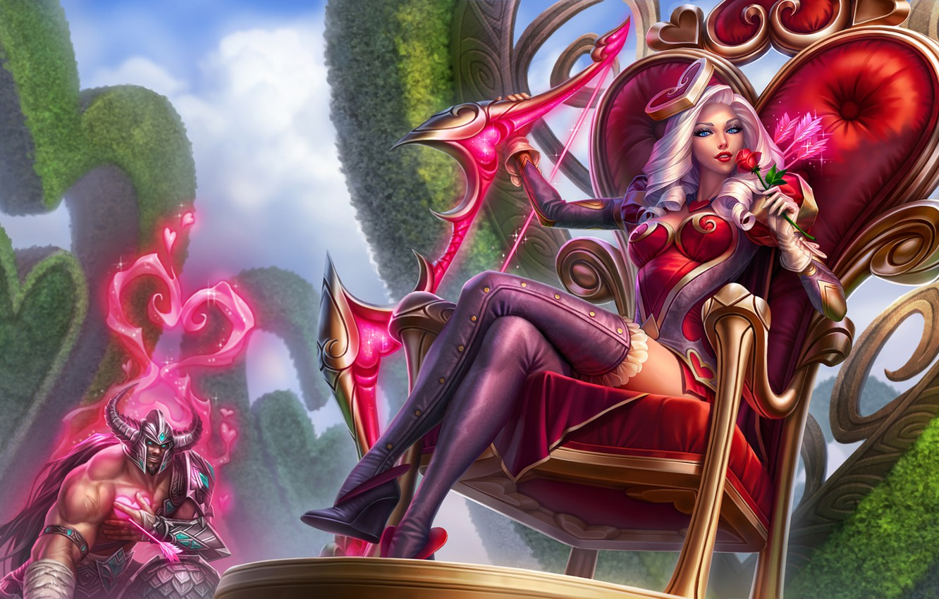 Photo wallpaper girl, the throne, League of Legends, Ashe, Frost Archer