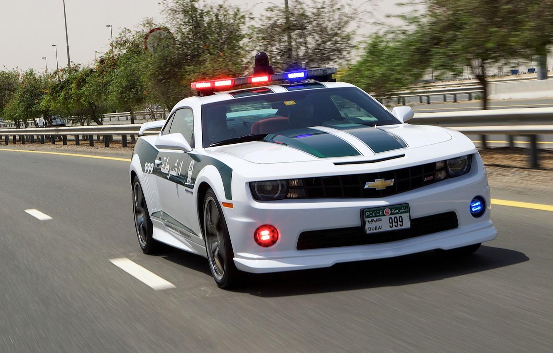 Photo wallpaper road, Chevrolet, Camaro, Camaro SS, police, police car