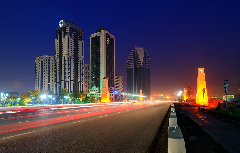 Photo wallpaper road, night, the city, Russia, skyscrapers, Chechnya, terrible, Grozny City