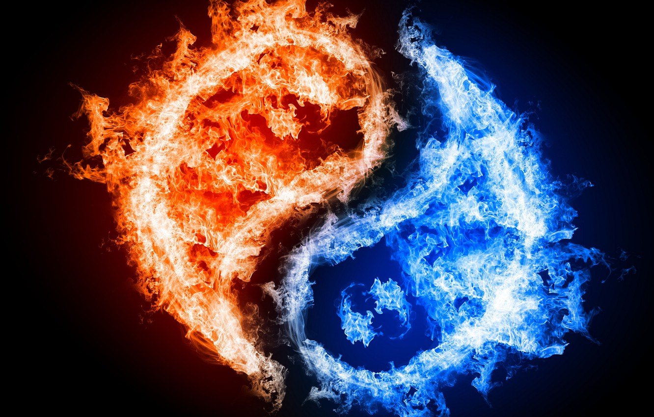 Photo wallpaper water, fire, characters, philosophy, East, Yin and Yang