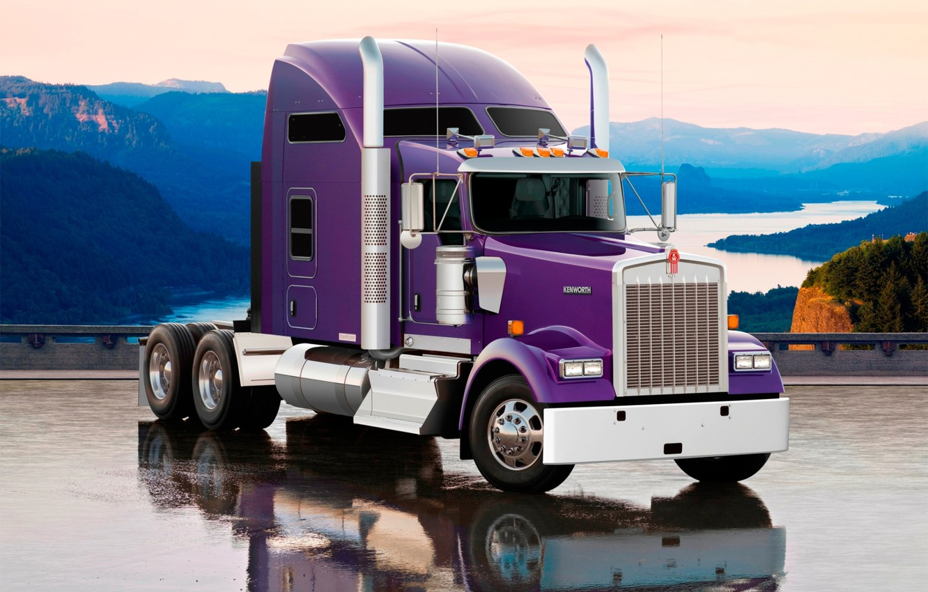 Photo wallpaper the sky, mountains, reflection, truck, movers, the front, truck, Trak, Kenworth, Kenworth, W900L, Kenworth