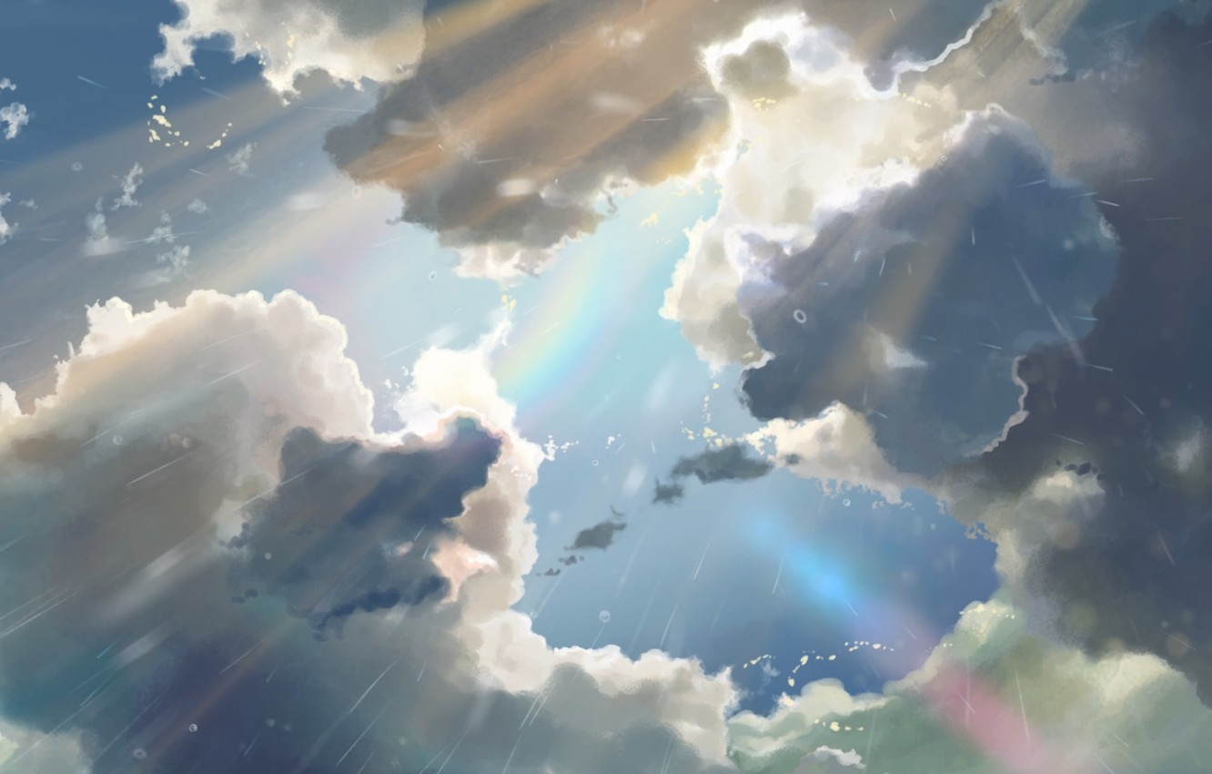 Wallpaper the sun the sky clouds rain anime sky - Anime rain wallpaper ...
