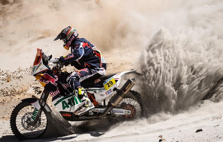 Photo wallpaper Sand, Sport, Motorcycle, Racer, Red Bull, Dakar, Two wheels