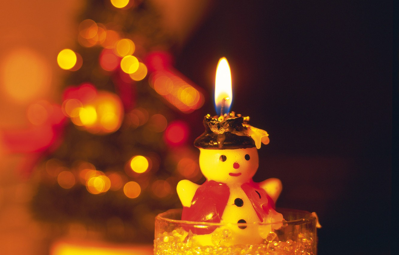 Photo wallpaper new year, candle, snowman, light