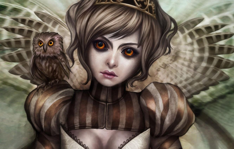 Photo wallpaper girl, owl, wings, owlet, Gracjana Zielinska