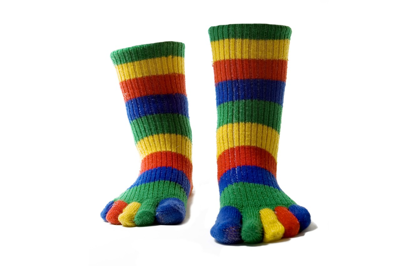 Photo wallpaper color, strips, feet, socks, fingers, colorful, warm