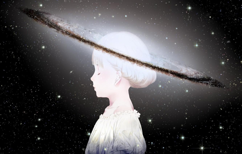 Photo wallpaper the sky, girl, space, stars, planet, head, anime, art, sawasawa