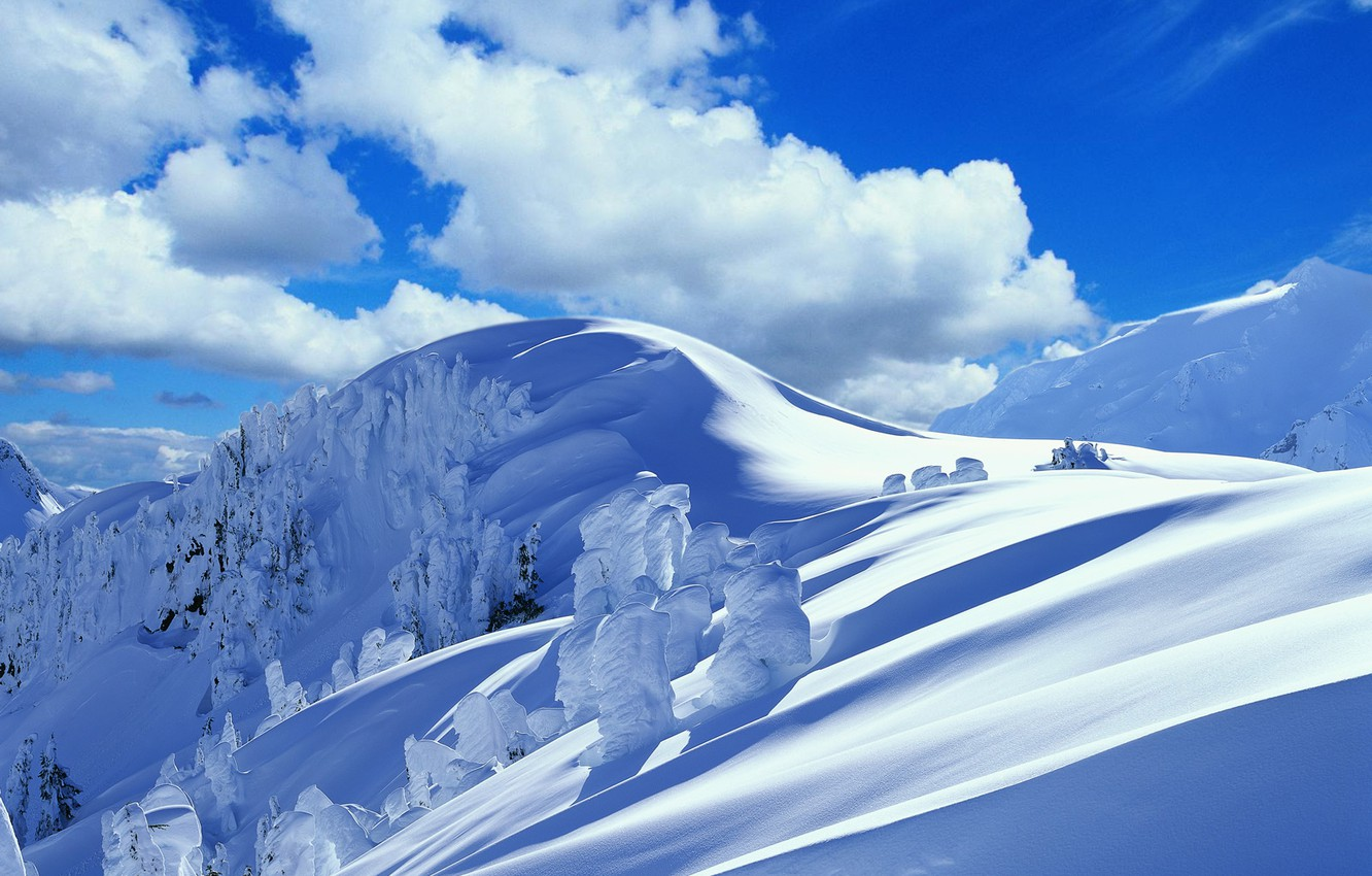 Photo wallpaper winter, clouds, snow, trees, mountains, the snow