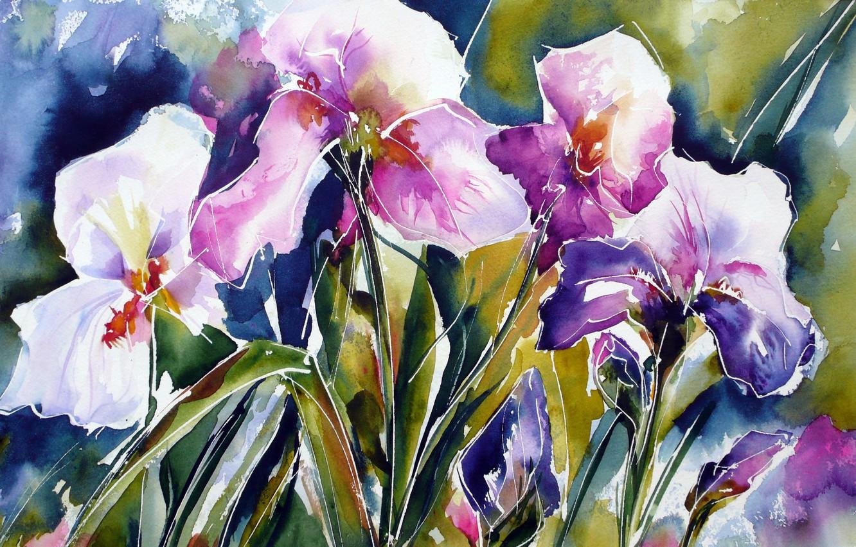 Photo wallpaper flowers, watercolor, irises