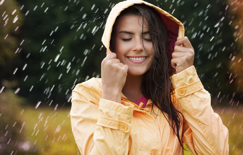 Photo wallpaper water, Rain, waterproof jacket