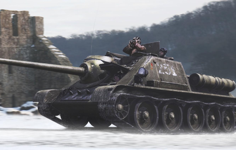 Photo wallpaper tank, self-propelled gun, Su-85