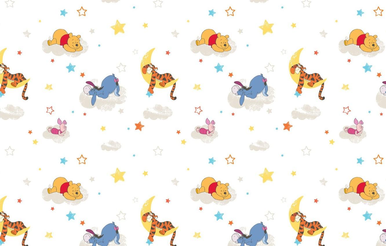 Photo wallpaper clouds, background, mood, the moon, sleep, cartoons, Piglet, Winnie The Pooh, the Tigrusha, Eeyore