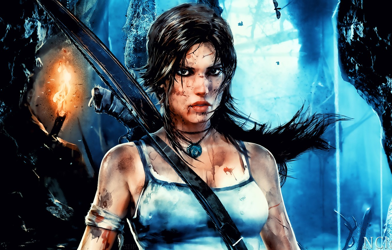 Photo wallpaper weapons, fire, blood, bow, dirt, pendant, torch, cave, ruins, amulet, wounds, lara, tombs, the raider, …