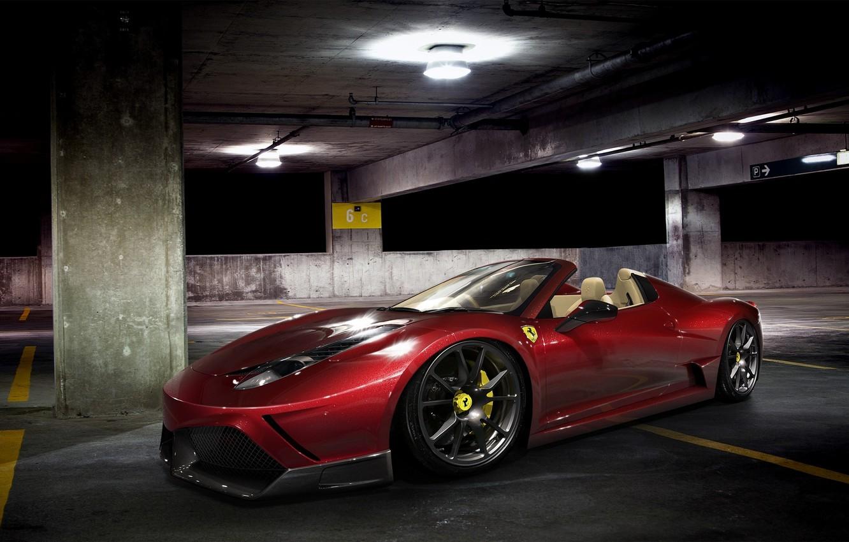 Photo wallpaper car, machine, auto, night, Ferrari, Parking, Ferrari, supercar, red, supercar, red, 458, night, parking, avto, …