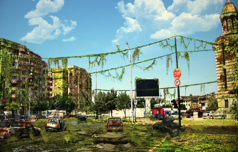 Photo wallpaper machine, the city, the ruins, postapokalipsis, art