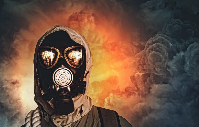 Photo wallpaper survivor, gas mask, pollution