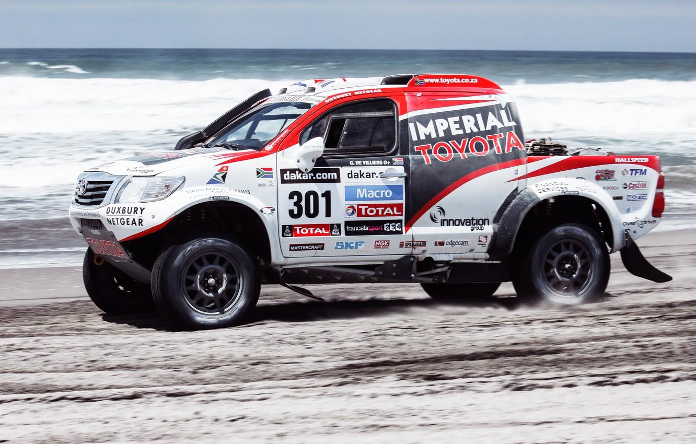 Photo wallpaper Sand, Sea, Beach, Auto, White, Sport, Machine, Speed, Race, Toyota, Rally, Dakar, SUV, Rally, Side ...