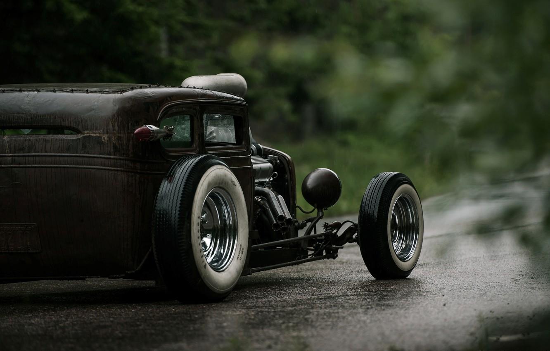Photo wallpaper Road, Chevrolet, Wet, Hot Rod, Chevy, Rat Rod, Back, 540ci