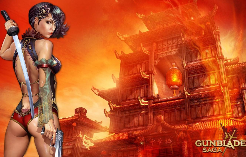 Photo wallpaper girl, gun, weapons, sword, katana, girl, sword, gun, game wallpapers, Gunblade saga