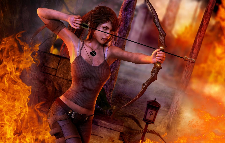 Photo wallpaper fire, blood, Girl, shot, bow, medallion, headband