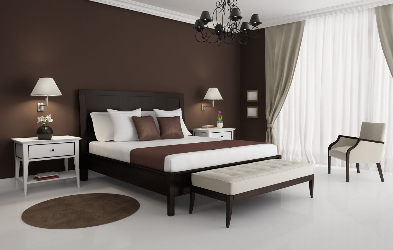 Photo wallpaper white, design, style, lamp, bed, interior, chair, Mat, brown, table, bedroom, chandeliers