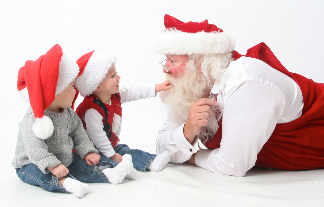 Photo wallpaper christmas, happy, holidays, merry, children, santa, claus, interview, new year