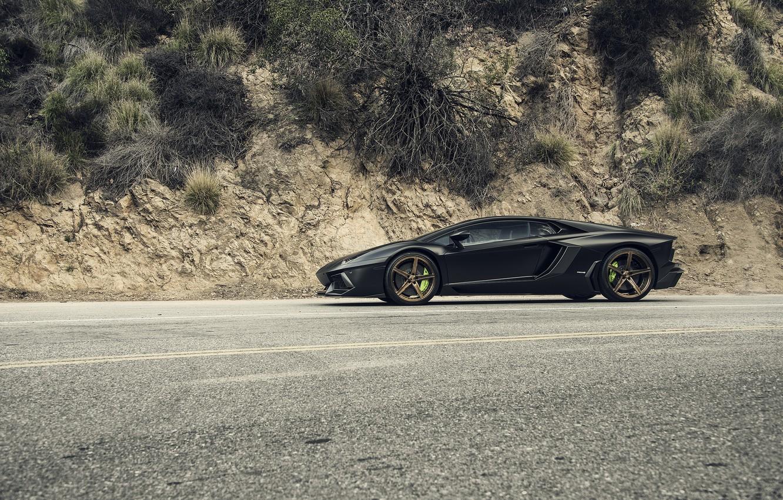 Photo wallpaper Lamborghini, Black, Side, Tuning, LP700-4, Aventador, Mansory, Supercar, Wheels, RDB LA Matte, Savini
