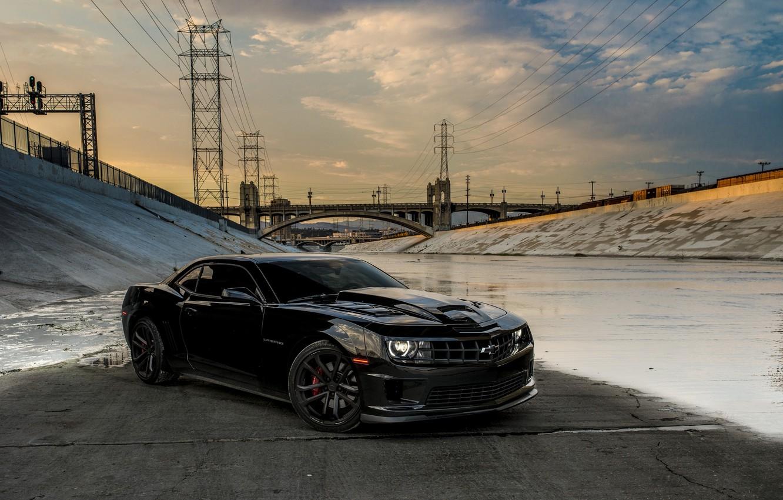 Photo wallpaper bridge, black, Chevrolet, black, chevrolet, bridge, camaro ss, Camaro, power line