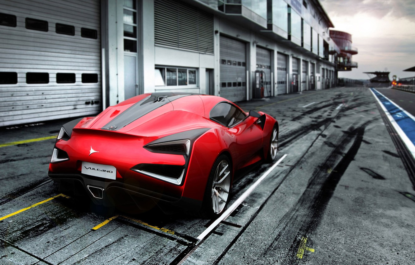 Photo wallpaper Red, Auto, Machine, Asphalt, Track, Coupe, Sports car, Rear view, Vulcan, Icona