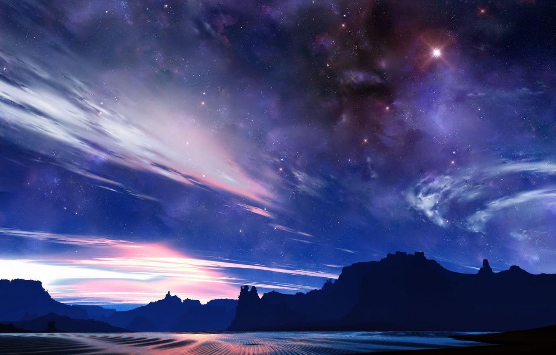 Photo wallpaper the sky, light, rocks